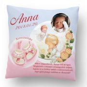 Keresztelő Ajándék fényképpel angyalkás rózsaszín